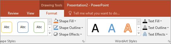 A PowerPoint menüszalagjának Rajzeszközök lapja