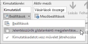 Jelentésszűrő-oldalak megjelenítése parancs