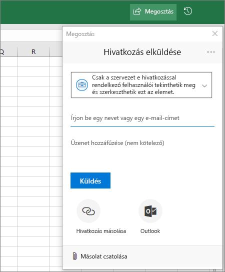 Megosztás ikon és párbeszédpanel az Excelben