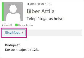Outlook-üzenet a Bing Maps alkalmazással