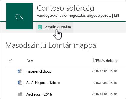 SharePoint Online – másodfokú lomtár kiemelt Lomtár ürítése gombbal
