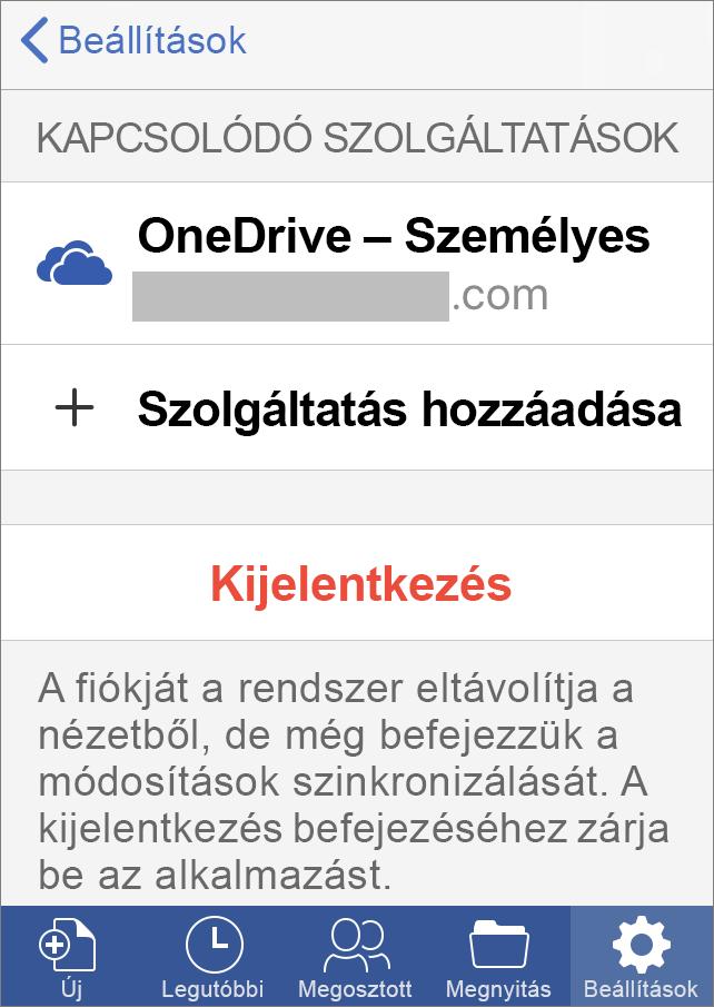 A Kijelentkezés elem az iOS Office-ban