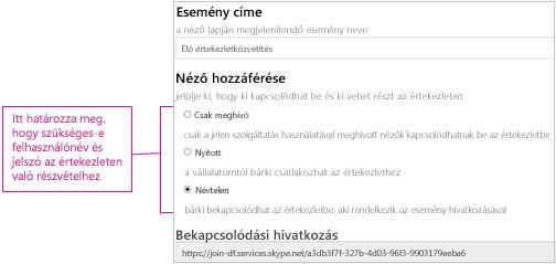 Az Értekezlet részletei képernyő a hozzáférési szintekkel