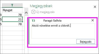 A megjegyzések hozzáadására vagy szerkesztésére szolgáló Megjegyzések ablaktábla