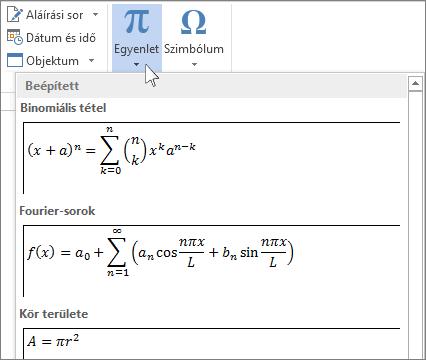 Egyenlet beszúrása