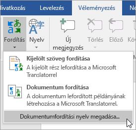 A Fordítás menü Dokumentumfordítási nyelv megadása parancsa
