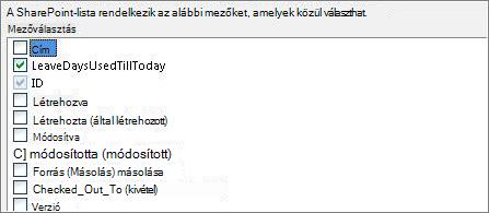Select fields list