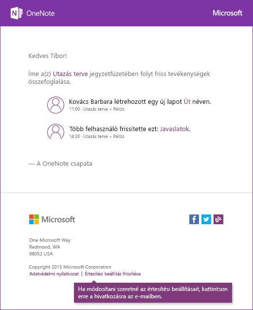Példa A OneNote-ban értesítő e-mail-üzenetre