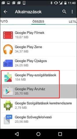 A Google Play Áruház app gyorsítótárának kiürítése