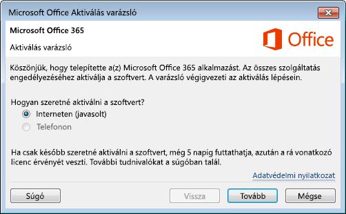 Az Office 365 Aktiválás varázslója