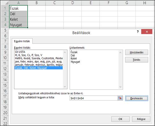 Az Egyéni lista párbeszédpanel a Fájl > Beállítások > Speciális > Általános > Egyéni listák szerkesztése területen. Az Excel 2007 esetében kattintson az Office-gomb > Az Excel beállításai > Népszerű > Egyéni listák szerkesztése lehetőségre.