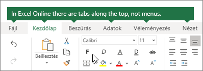 Kezdőlap, Beszúrás, adatnézet, lapok megtekintése a webes Excelben