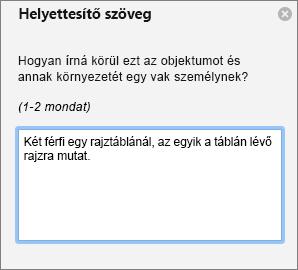 Az Outlook Helyettesítő szöveg panelje, amelyen helyettesítő szöveg adható a képekhez