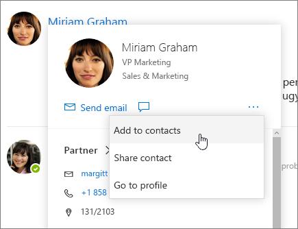Képernyőkép a megnyitott névjegykártyán a kijelölt partnerek hozzáadása
