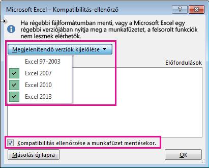 Az ellenőrizendő verziókat megjelenítő kompatibilitás-ellenőrző