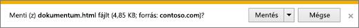 Letöltéskor megjelenő kérdés az Internet Explorerben