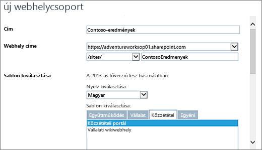 Az Új webhelycsoport párbeszédpanel, felső felében a kiemelt Közzétételi portál elemmel