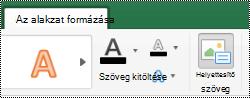 A helyettesítő szöveg gomb a Mac Excel menüszalagjának alakzatok lapján