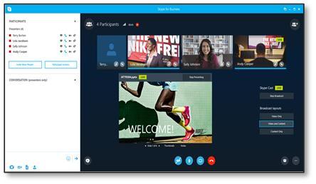 A SkypeCast eseményközvetítési lapja az esemény csapatának esetén