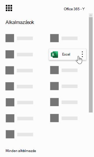 Az Office 365 appindítója, az Excel app kiemelve látható