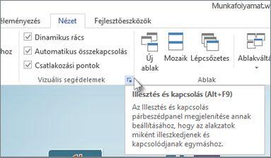 Vizuális segédelemek párbeszédpanel-megnyitó ikon