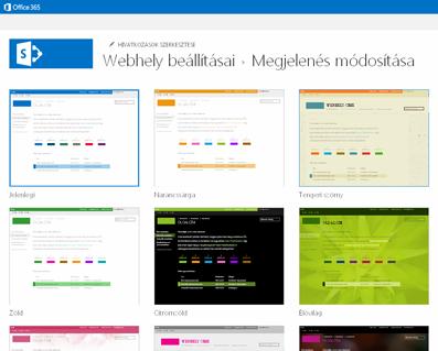 A közösségi webhely testreszabásához elérhető látványtervek