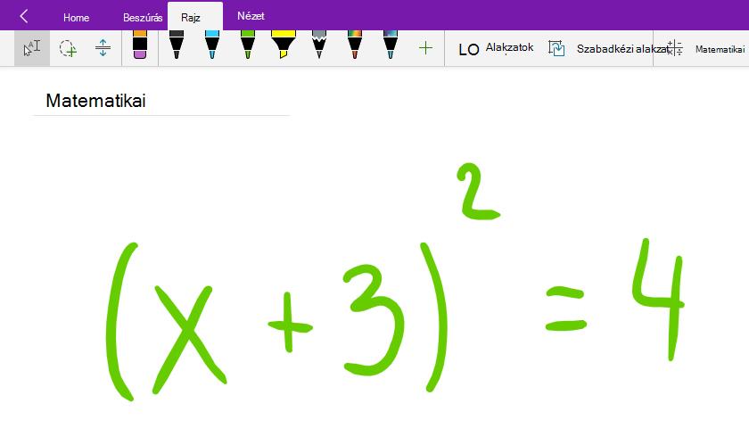 Matematikai egyenletek írása a Windows 10 OneNote-ban