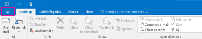 Így néz ki az Outlook 2016 menüszalagja.