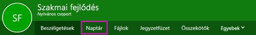 A Naptár gomb a csoportok menüszalagján az Outlook Web Appban