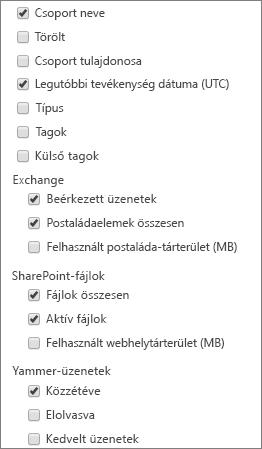 Office 365-csoportjelentések – oszlopok kiválasztása