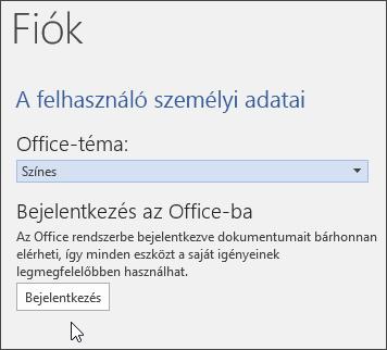 Képernyőkép a Fiók adatairól a Wordben