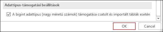 """Képernyőkép az Access beállításairól, amelyben ki van választva """"A bigint adattípus (nagy méretű számok) támogatása csatolt és importált táblák esetén"""" lehetőség."""