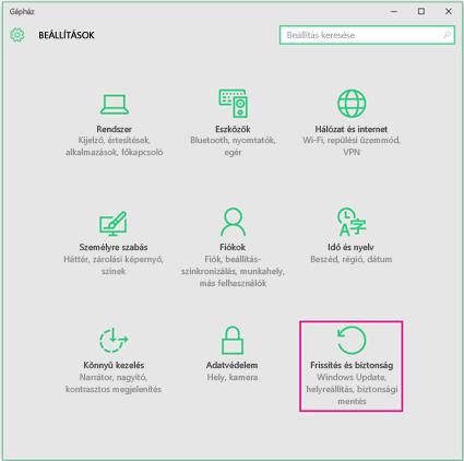 A Windows-frissítések beállítása a Windows10 rendszerben