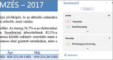 A javítandó nyelvhelyességi hibák a Szerkesztő panelen egy megnyitott Word-dokumentumban