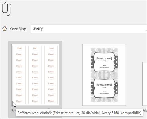 """Keressen rá a """"Avery"""" Avery-kompatibilis sablonok keresése"""
