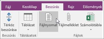 Képernyőkép a OneNote 2016 Fájlnyomat gombjáról