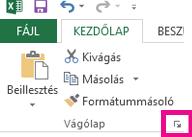 A vágólapot megnyitó ikon a Kezdőlap lap Vágólap csoportjának jobb alsó sarkában található.