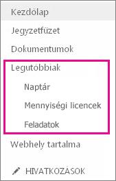 A Fontos rovatok panel Legutóbbiak hivatkozása alatt a legutóbb létrehozott lapok, listák és tárak láthatók.