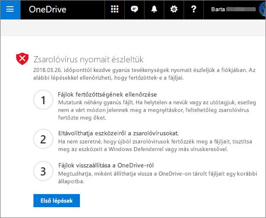 Képernyőkép a OneDrive webhelyen észlelt ransomware-képernyő jeleiről