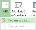 A WBS menügomb Kód megadása parancsának képe.