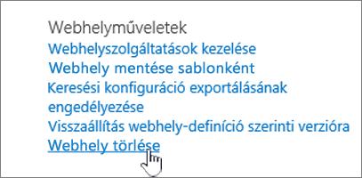 A Webhely beállításai menü, a Webhely törlése lehetőség kiemelve
