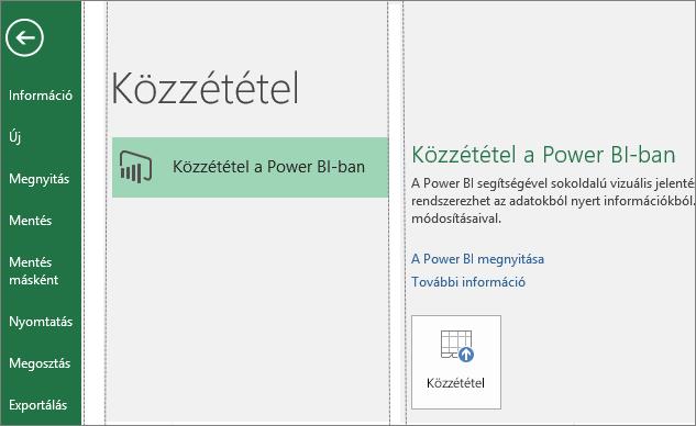 A Közzététel a Power BI-ban gomb az Excel 2016 Közzététel lapján