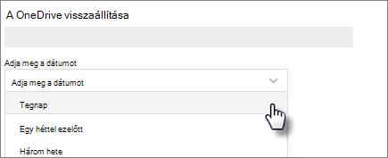 Képernyőkép: dátum kiválasztása a OneDrive visszaállítása képernyőn