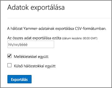 Adatok exportálása Yammer-hálózatról