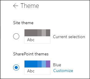A SharePoint-webhely új téma kiválasztása