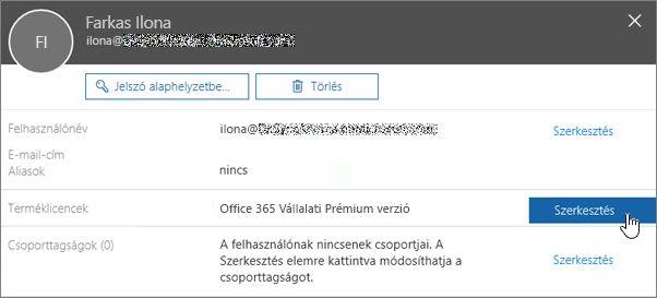 Képernyőkép a terméklicencek szerkesztése műveletről
