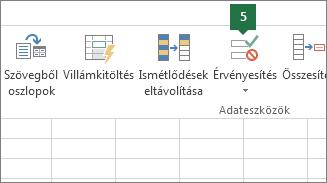 Legördülő lista érvényesítése az Adatok > Adatok érvényesítése gombra kattintva az Excelben