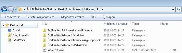 Képernyőkép egy kicsomagolt Web Solution Package (.wsp) -fájlt megjelenítő Windows Intéző-ablakról.