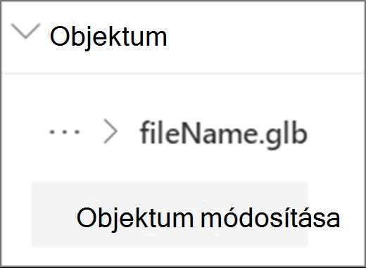 Objektum felhasználói felületének módosítása