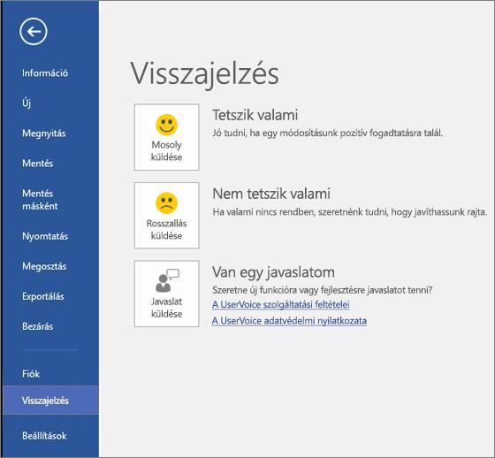 A Fájl > Visszajelzés elemre kattintva elküldheti a Microsoft Visióval kapcsolatos véleményét és javaslatait